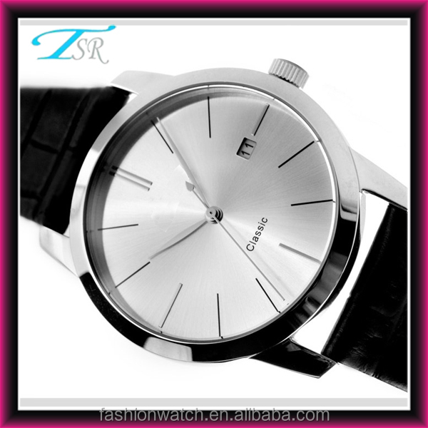 Silver leather and dial alloy watches leather strap alloy case for men classic style gold case and silver case available