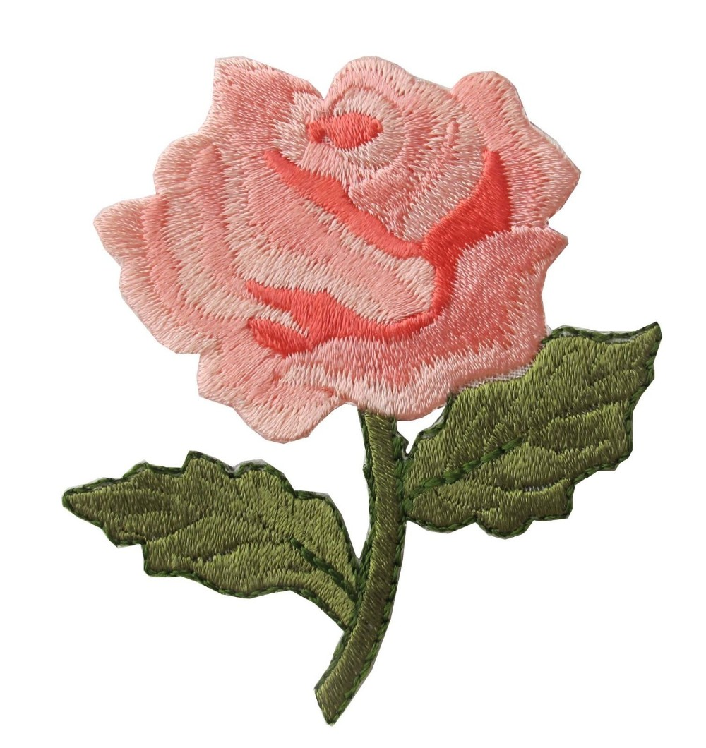 Pink Rose Flower Embroidery Iron On Applique Patch