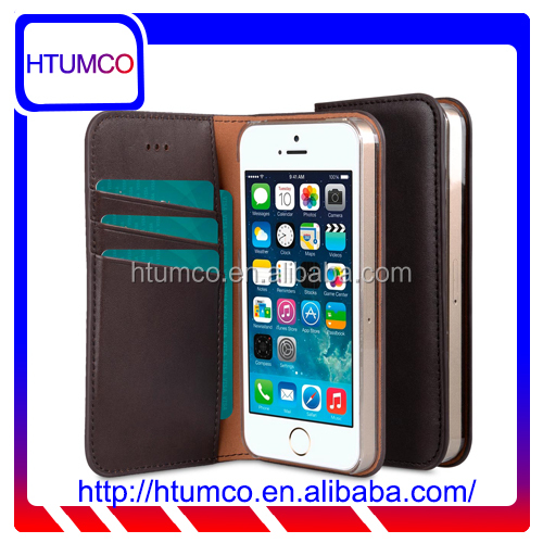 Classic Wallet Mobile Phone Case Premium Italian Leather Case for Apple iPhone 5s / 5 / SE