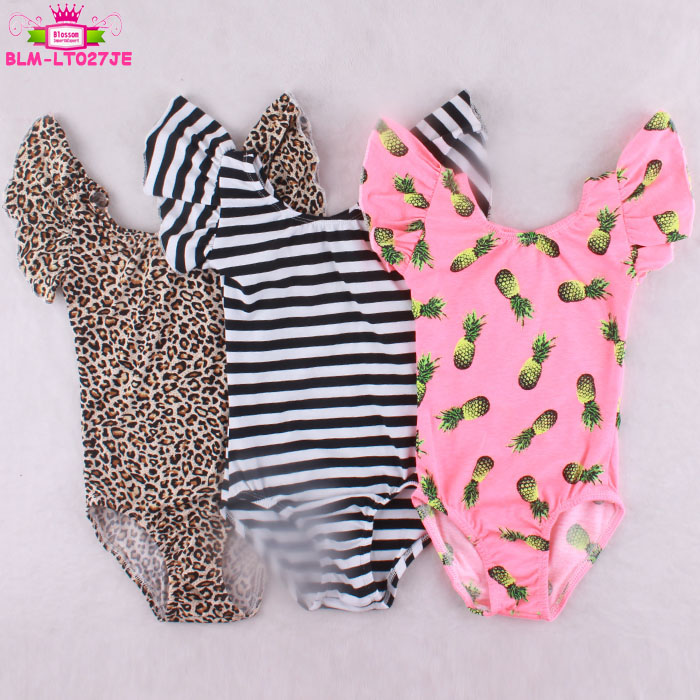 China Wholesale Short Ruffle Sleeve Leotard Dance Costumes Leopard / Black Stripes / Pineapple Girls Ballet Leotards