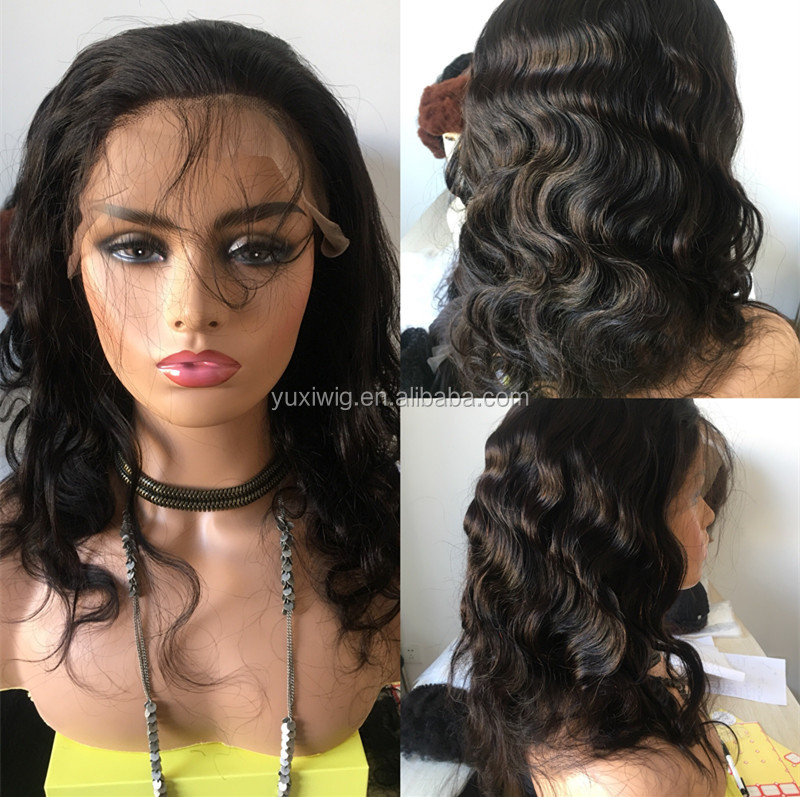 100% human hair front lace wig. half machine made half handmade wig