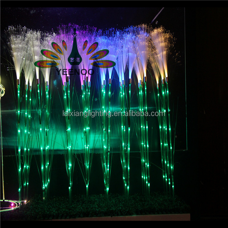 Factory price 220v artificial plant fiber optic reed nitht lights for garden outdoor lighting decoraiton