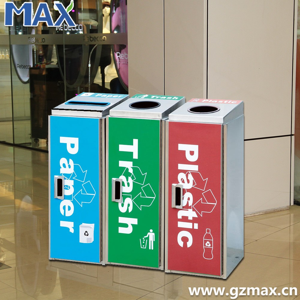 Internal commercial waste bins,square air port dustbin, three classified recyclable trash