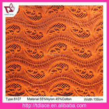 2017 Brazil hot sale knitted lace fabric for dress, best lace fabric No.8107