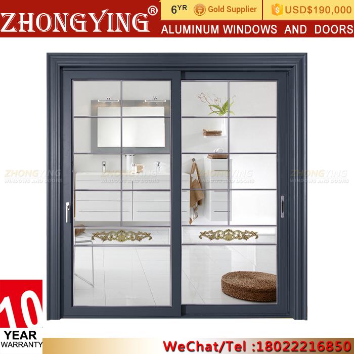 Aluminum Metal Interior Mirrored French Patio Doors Sliding