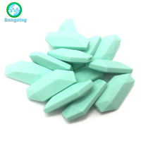 Factory Wholesale Leaf Shape Custom Color Large Silicone Rubber Beads Food Grade Silicone Teething Beads