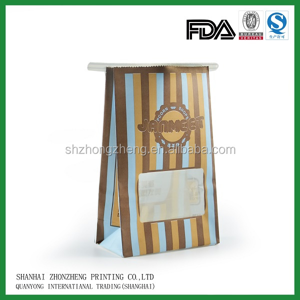 craft paper material foil lined paper bag witn die cut window for coffee packaging