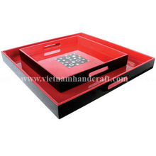 Quality eco-friendly handpainted vietnamese lacquerware serving tray in black & solid red and with mother of pearl inlay