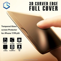 3D curved edge full cover tempered glass screen protector shield for apple iphone 7