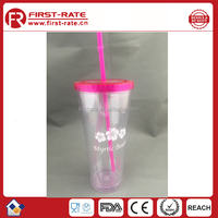 Reusable! 24oz double layer plastic tumbler cup with straw