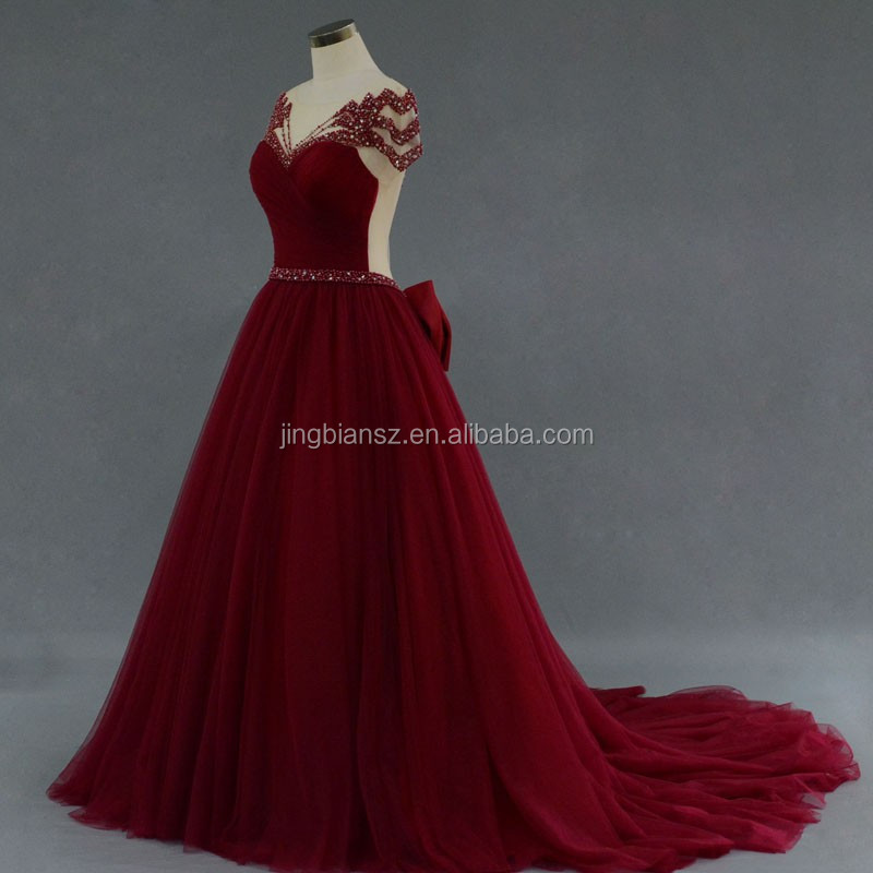 Real sample wonderful design backless beaded red carpet evening dress #OE211