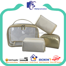 Wholesale clear travel bag zipper vinyl cosmetic pouch