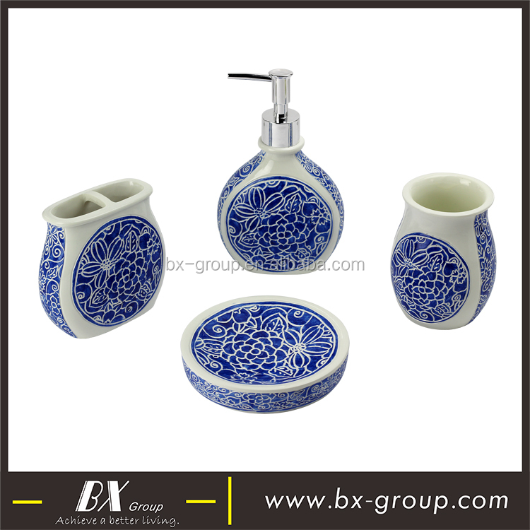 BX Group China supplier China style blue and white resin bathroom accessory set