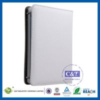 C&T Retro foldable wallet book type white portfolio case for mini ipad leather