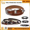 New products 2017 innovative western style double buckle belt in black matter pu genuine leather
