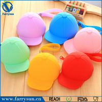 Promotional gift soft fashion pocket cosmetic storage bag baseball cap shaped silicone coin purse with keychain
