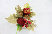 2016 holly picks plastic red berry and gold leaf christmas decor