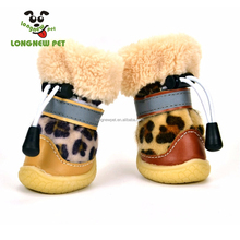 Casual Dog Boots Leopard Pattern Warm Outdoor Anti-Slip Walking Shoes