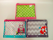 Osini Good competitive price cute 3-ring binder colour design PVC 600D Fabric zipper pencil pouch binder pouch