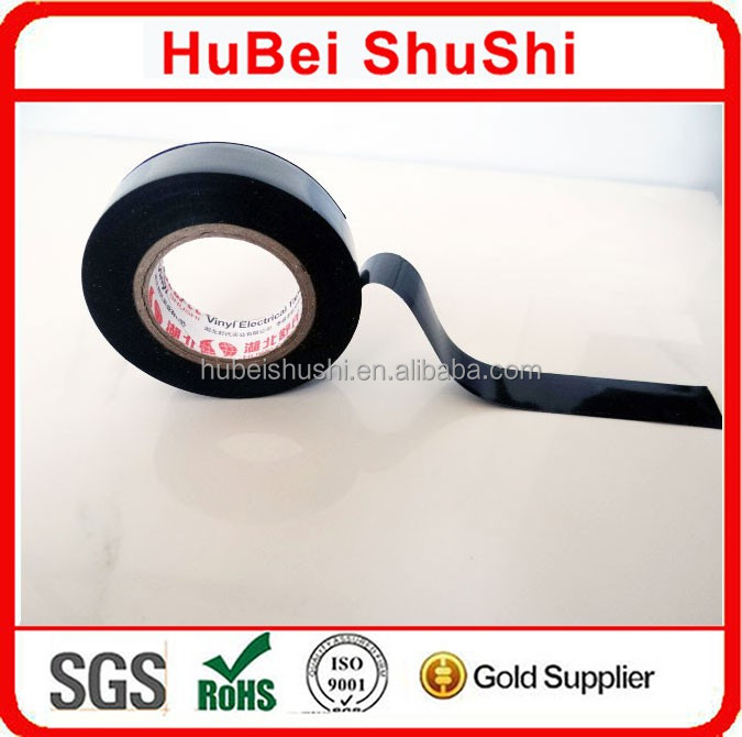 black color PVC tape shiny film electric insulation water proof tape