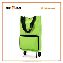 Portable Shopping Cart Foldable Shopping Trolley Tote Bag With Wheel Rolling