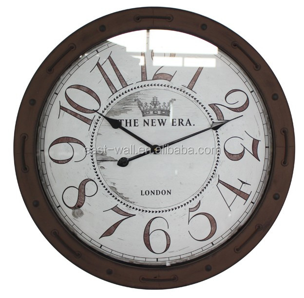 home decor circular iron home wall clocks iron frame with glass