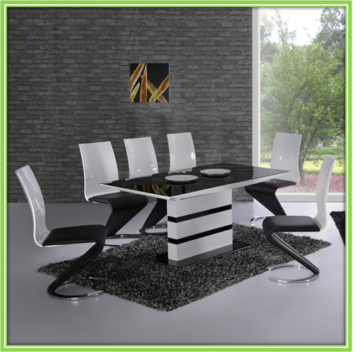 Black And White Modern Fancy Glass Top Dining Tables