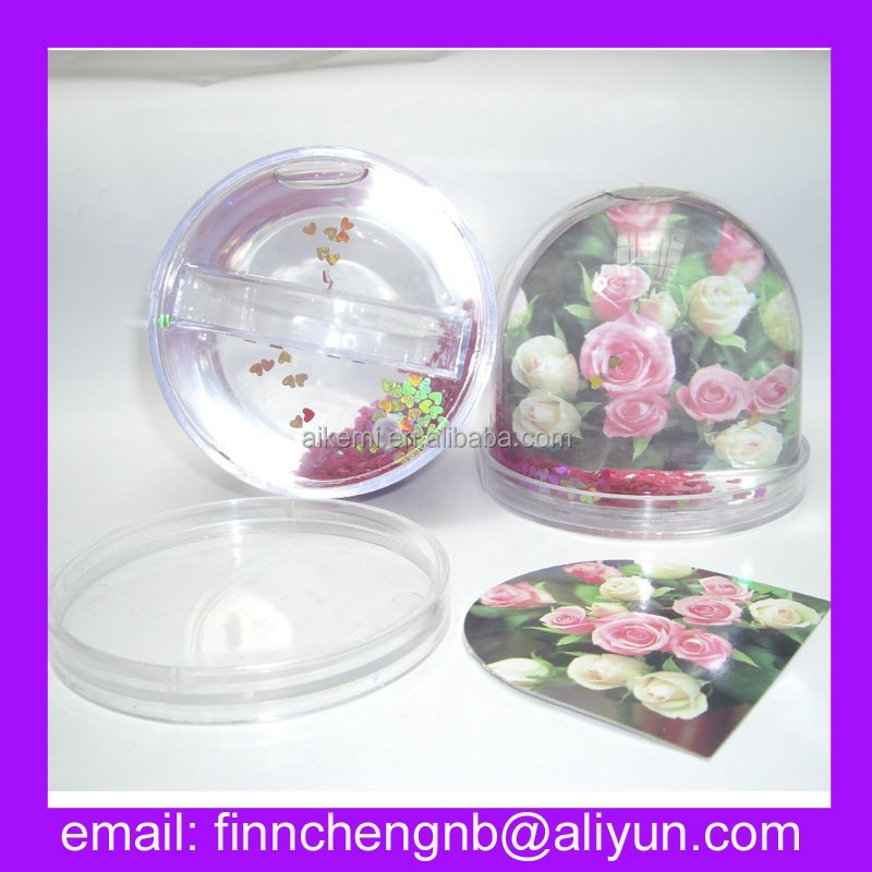 valentine's day acrylic/plastic photo paper insert snow globe, souvenir custom water ball,promotion custom inflatable water ball
