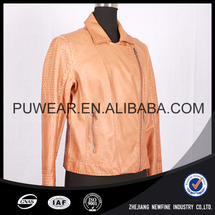 Comfortable Windproof Plain Lightweight Lady PU Jacket