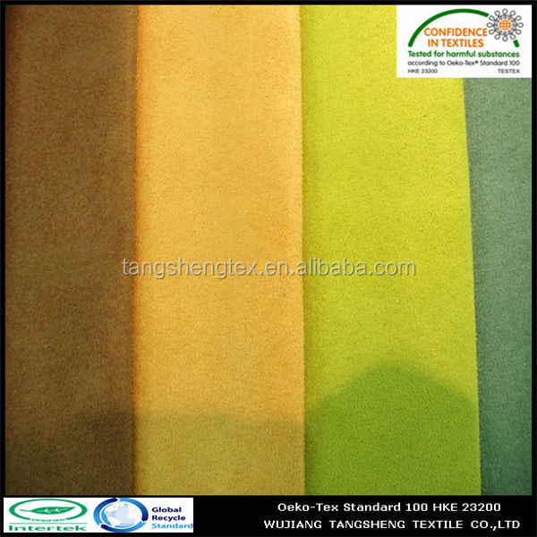 2014 upscale fashionable 100% recycled polyester suede fabric for suede vest