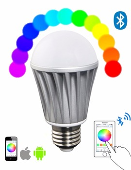 E26 E27 7W Bluetooth 4.1 Mesh LED bulb, Dimmable Color Changing Bluetooth Smart LED Lamp