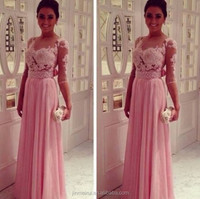 Sheer Illusion Chiffon Skirts Long Evening Party Dress Elegant Gowns Femininas 2014 Vestidos De Fiesta Evening Dress From Dubai