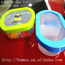 can be print logo Transparent Plastic 2 Compartment Bento Lunch box