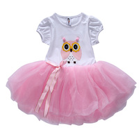 Newest Fashion 2015 Design Cute Pattern Appliques Bowknot Brief O-neck Kid Dress Wholesale Girl Dress L15048