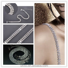Decorative Detachable Diamante Rhinestone Bra Straps Adjustable Sparkly Silver 3 rows for Wedding Bride Prom Gift