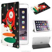 Naughty Monster design with PU Leather Smart Cover & Clear Back Case for Apple iPad mini 4 Ultra Slim case with black color