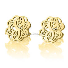 24k Gold Plated Stud Monogram Earrings, Stainless Steel Earring Factory China