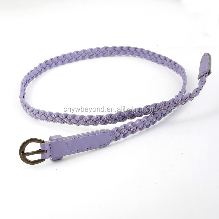 hot sale skinny braided pu lady <strong>belt</strong> factory