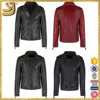 Clothing manufacturer women leather jacket with fur collar