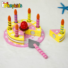 2016 wholesale baby wooden birthday cake toy, beautiful kids wooden birthday cake toy, children wooden birthday cake toy W10B116