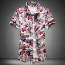 Custom design high quality printed hawaiian shirt for men