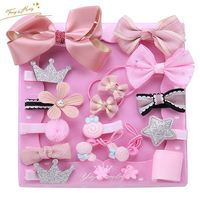Wholesale Fashion Handmade Baby Kid Girl Fancy Cute Hair Tie Hair Clip Set accessories for hair set