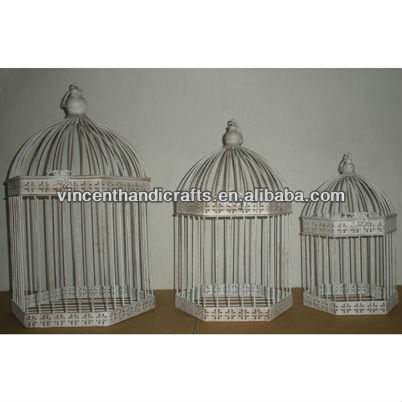 Country primitive antique white hexagon metal wire hanging bird cage