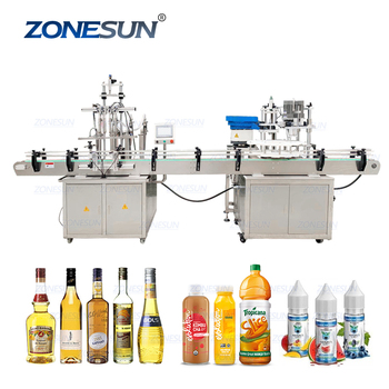 ZONESUN Automatic Electric Glass Perfume Water Nail Polish Plastic Bottle Capping Auto Filling Capping Packing Machine