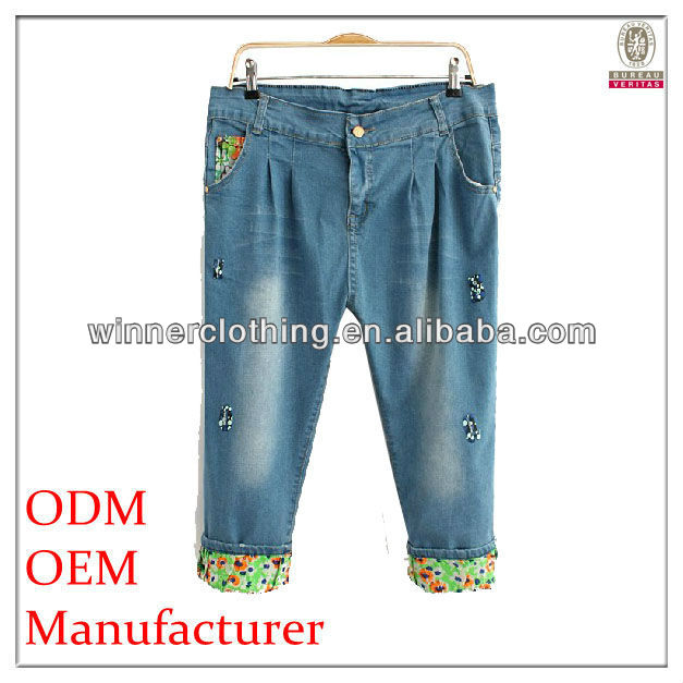 hot selling capris casual/summer ladies denim trousers with plus size