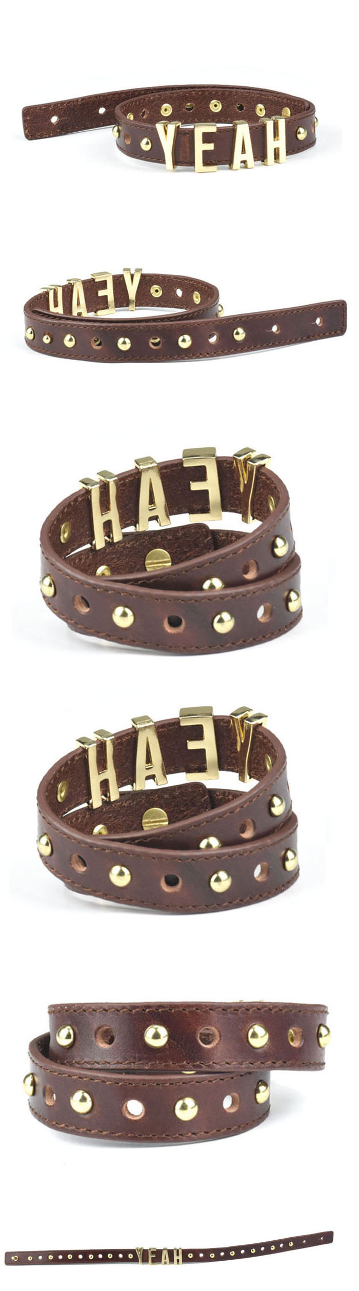 Popular fashion gold bracelet leather metal bracelet