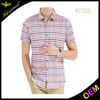 latest brand design Egyptian cotton Italian double collar short sleeve fashion design casual men shirt