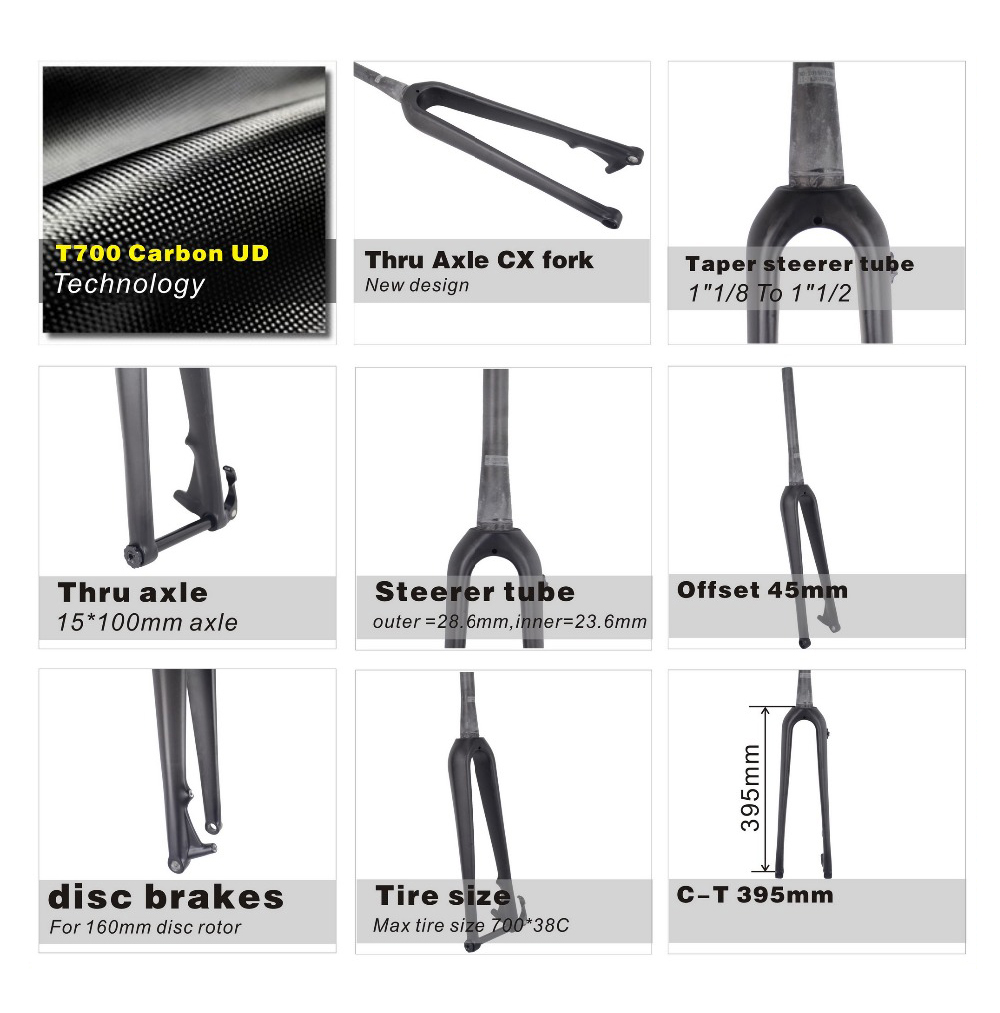 New Full Carbon Road Bike Fork, Toray T800 Carbon Fork, Taper Bicycle Fork For Road Bikes