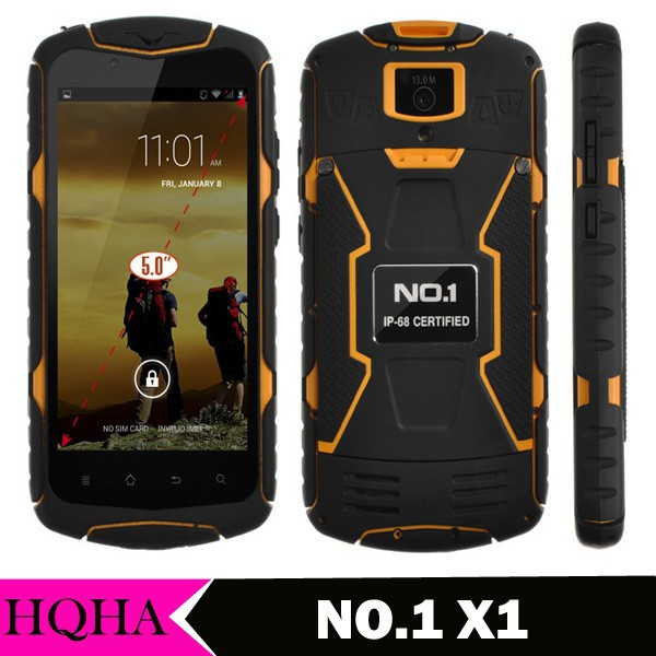 NO.1 X1 X-Men IP68 Waterproof android 4.4 Smartphone MTK6582 5.0 Inch Quad Core 3G 1280*720 8GB ROM 5800mAh Battery Cell phones