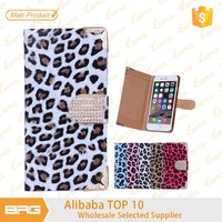 BRG leopard print fancy smart mobile phone case for iphone 6 with Rhinestones closure